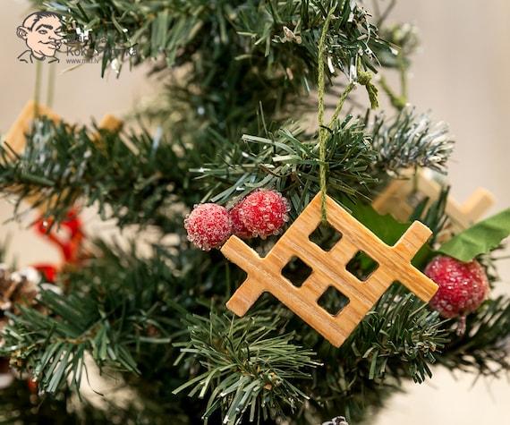 8 Wooden Christmas Tree Ornaments Decorations Latvian National Folk Symbols