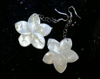 Lotus flowers, mother of pearl dangling earrings