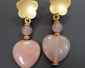 Peach blossoms, pendant earrings.