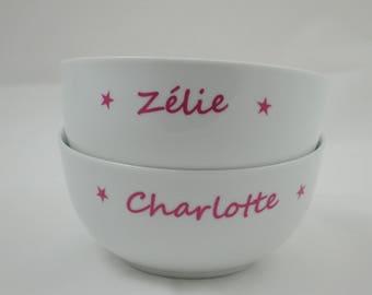 Custom Bowl contemporary pink stars