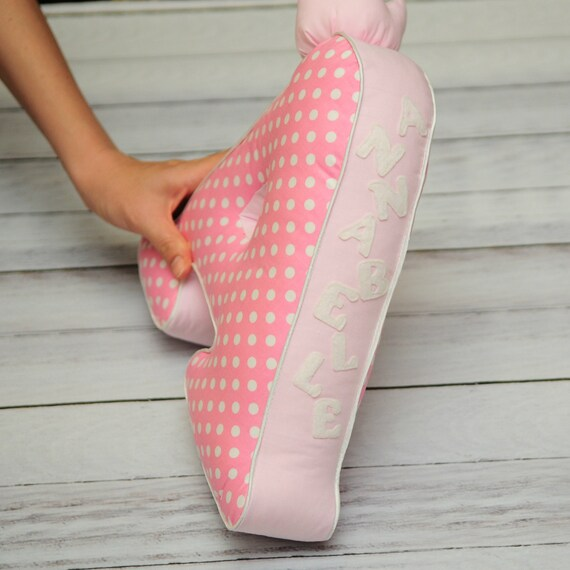 Pink sign cot decor Letter pillow A