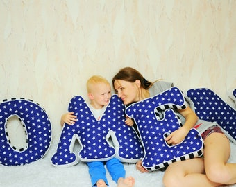 Baby name from big letter pillows Boy nursery wall decor Navy blue alphabet pillows with white stars Large initial cushions New baby gift