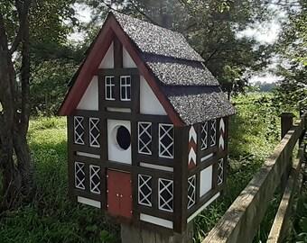 Medieval Birdhouse, Tudor Bird House, Handmade Birdhouse, Outdoor Wood Birdhouse, Country Birdhouse, Unique Birdhouse, Wooden Birdhouse