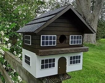 Swiss Birdhouse, Chalet Bird House, Handmade Birdhouse, Outdoor Wood Birdhouse, Country Birdhouse, Unique Birdhouse, Wooden Birdhouse