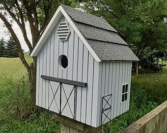 Stable Bird House, Grey Birdhouse, Handmade Birdhouse, Outdoor Birdhouse,  Unique Birdhouse, Wooden Birdhouse