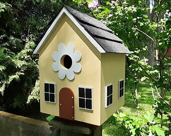 Flower Birdhouse, Whimsical Bird House, Gnome Birdhouse, Outdoor Wood Birdhouse, Functional Birdhouse, Unique Birdhouse, Country Birdhouse