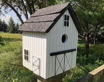 Stable Bird House, White Birdhouse, Handmade Birdhouse, Outdoor Birdhouse,  Unique Birdhouse, Wooden Birdhouse
