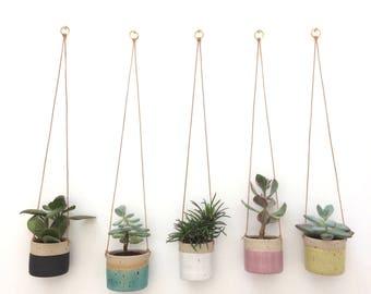 Pink handmade ceramic stoneware hanging planter, small