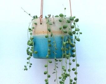 Turquoise handmade ceramic stoneware hanging planter (medium)