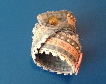 Breast Cancer Awareness Handmade Denim Bracelet