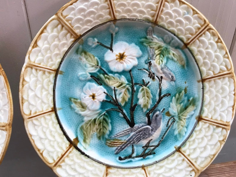 French Vintage Assiette Pair Majolica Barbotine Vintage Fruit Plate with Floral and Bird Design