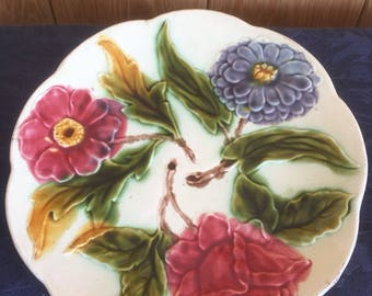 French Majolica Barbotine Vintage Fruit Plate with Floral Design
