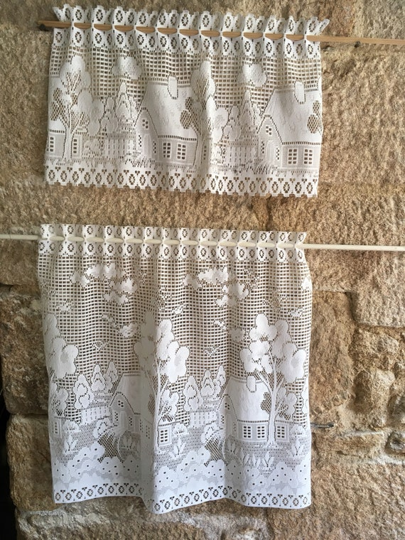 Vintage white curtain 98.5 x 18.5 inches with embroidered trees French cafe window Retro kitchen Christmas unique gift idea