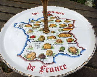 Retro Ceramic French Map Cheese Platter, french cuisine