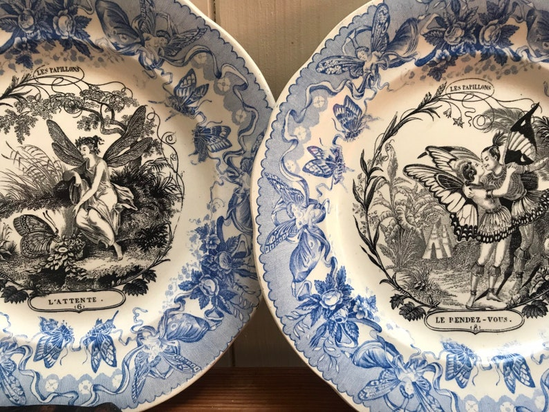 Set 2 French Antique Porcelain Plates from /'Les Papillons /' series early 1900/'s
