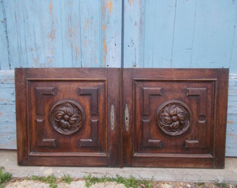 Antique Cabinet Panel Doors , Carved Wood