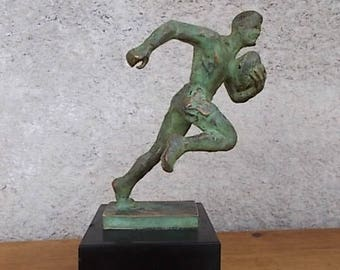 Sculpture Fraisse Demey Rugby Player Bronze statue trophy
