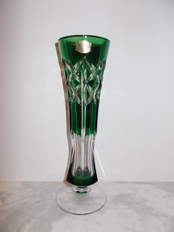 Val St Lambert Emerald Green Vase Crystal
