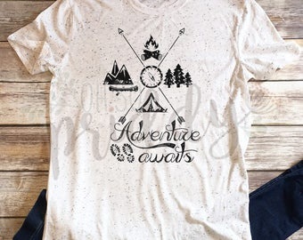 Adventure AwaIts, Tent, Kayaking, Canoeing, Tree, Hiking, Camping, Outdoors, Custom Shirt, Vinyl, Baseball Tee, Raglan Tee, Vintage, Tee