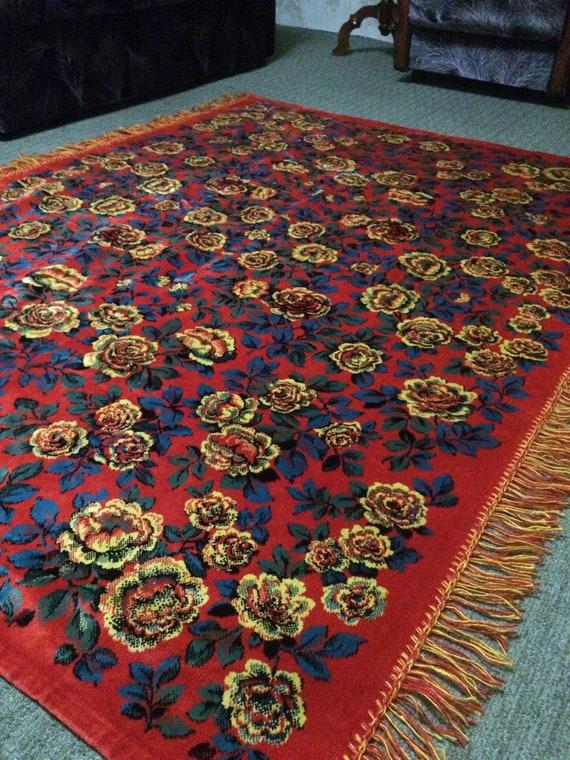 Vintage silk velvet carpet velor plush carpet   Etsy