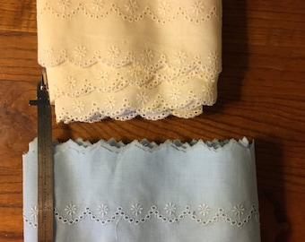 High Quality New Cotton Eyelet Lace in Choose of 2 Colors and 2 Different Widths