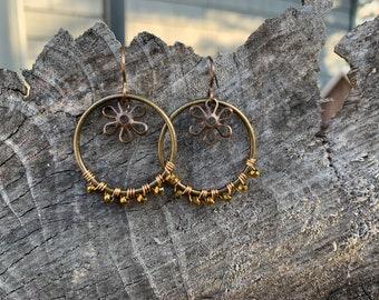 Brass daisy hoop earrings
