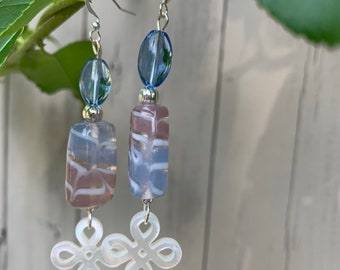 Pastel Czech glass with Mother of Pearl clovers
