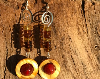 Czech glass, shell and carnelian earrings