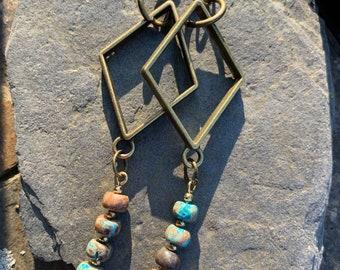 Imperial Jasper and brass earrings