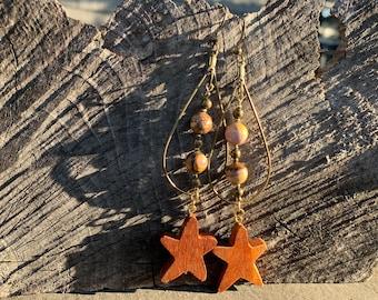 Zebra stone star earrings