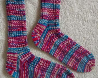 Hand knitted washable wool socks, size uk 3-5