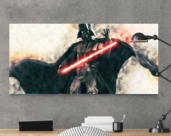 Star Wars Art Darth Vader, Star Wars Landscape Print, Star Wars Watercolor Poster,BIG SIZES up to 33 x 72
