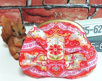 Ruffle coin porch, Clasp Wallet, Mini Wallet, Kisslock Coin Purse, Makeup Bag, Cosmetic Porch, Jewelry Porch, Orange