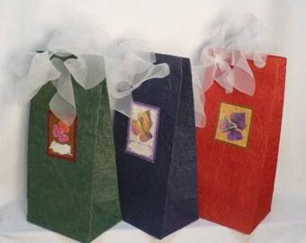 """Handmade wine bags, decorated handmade wine bags, handmade mulberry wine bags 5"""" x 12"""" x 4"""", 3 bags/pack"""