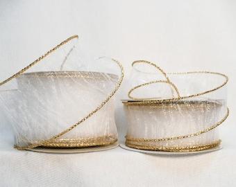 Sheer crinkle white metallic gold wired, white crinkle sheer gold metallic wired ribbon 20 yards