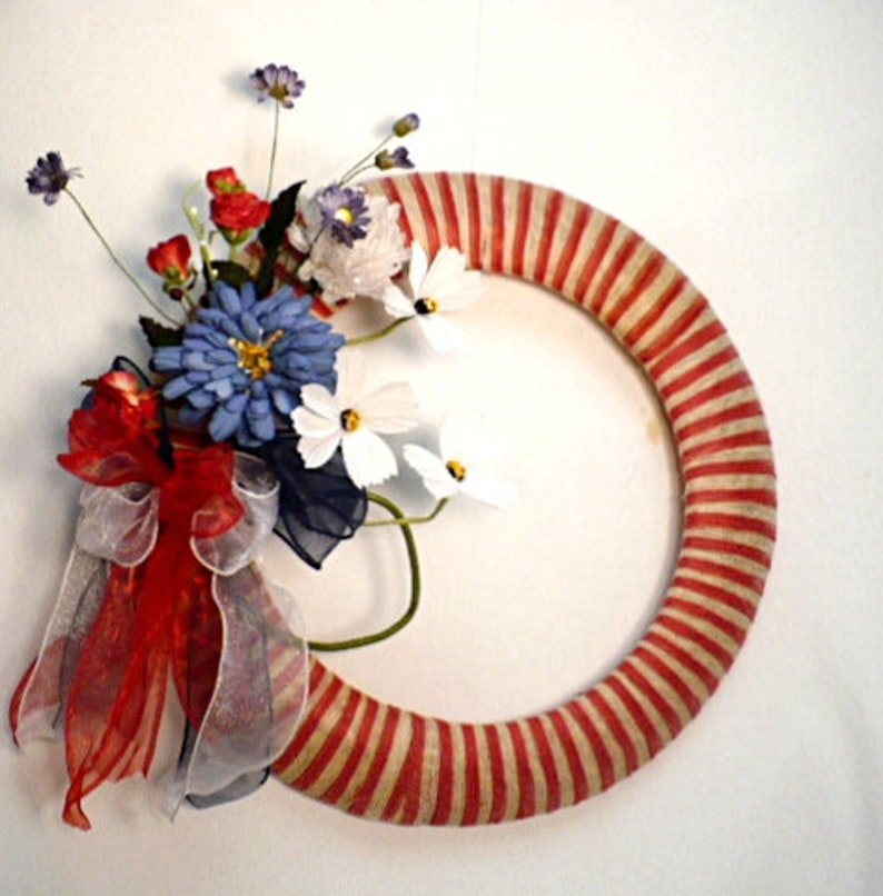 wall decor. front door wreath rednatural ribbon jute wrapped frame wreath 4th July ribbon wreath patriotic wreath summer wreath