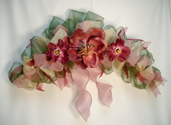 Arch swag pinkburgundy tone swag. handmade ribbon swag pink handmade magnolia swag everyday swag
