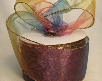 """Rainbow color sheer gold metallic wired ribbon, 2.5"""" x 20 yards"""