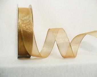 Gold metallic ribbon, wedding ribbon, woven gold metallic size 22 mm x 10 yards