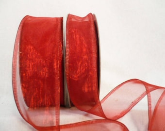 30 yards sheer organza red wired, valentine red ribbon, shimmering iridescent sheer red wired 30 yards