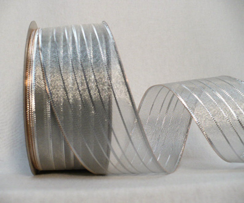 silver stripes wired ribbon Silver metallic wired wired holiday ribbon 1.5 wide x 25 yards.