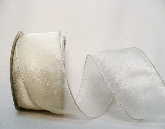 """10 Yds Ivory Cream Light Yellow Solid Wedding Wired Ribbon 2 1//2/""""W"""