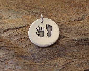 Round Personalised Handprint Pendant