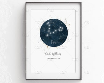 pisces Print Wall Art Astronomy Space Star SIGN picture a4 UNFRAMEd