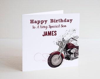 Personalised Ducati Motorbike Birthday Card Boy Husband Son Grandson Nephew