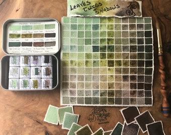 LEAVES, TWIGS & SHADOWS Set of 12- Artisan Handmade Watercolor paint Set