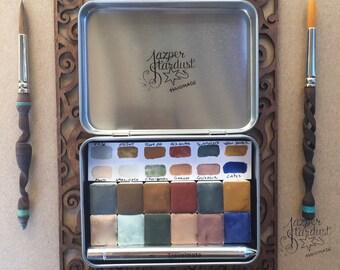Pure Gemstone Watercolor Set of 12 Jazper Stardust Rare Pigment Handmade Watercolors