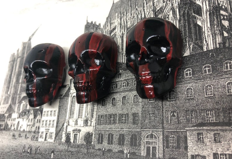 Black skull magnet trio with red drips gothic home decor