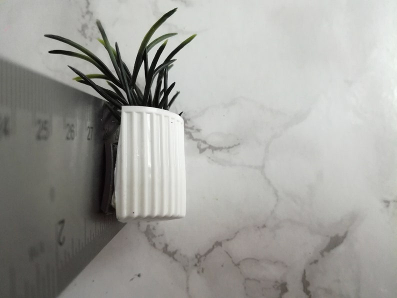 Plant Fridge Magnet Potted Plant Upcycle Handmade White and Green Plant
