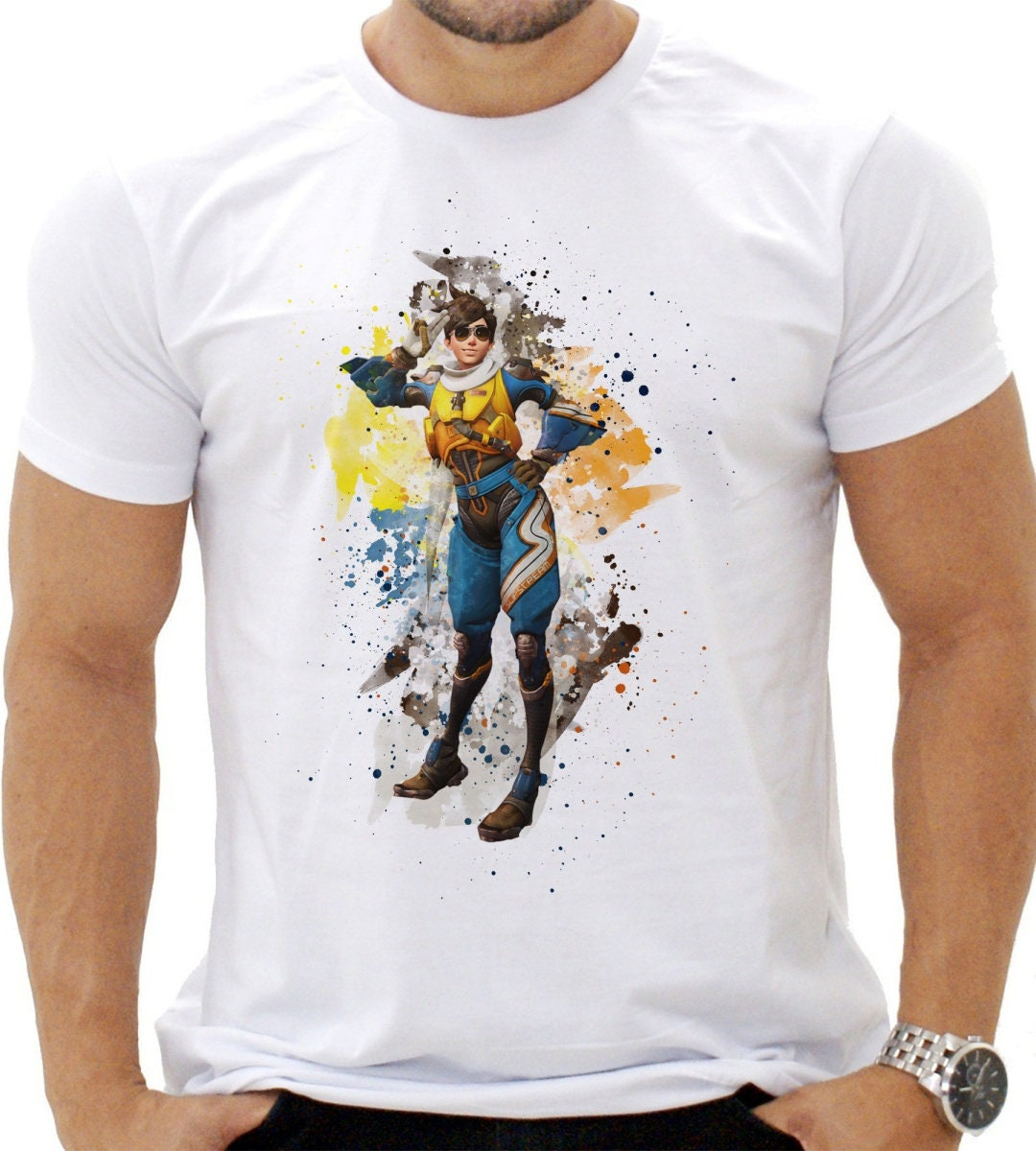 Overwatch traceur Tshirt, Tshirt jeu, Overwatch Shirt, Unique, idée cadeau, Overwatch T-Shirt DTG, tee-shirt Unique, Shirt, haut de gamme qualité unisexe Shirt,no.043 25693f